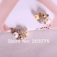 Free Shipping!50pcs/lot 15*20MM metal rhinestone ball button wedding embellishment garment hair bow DIY accessory