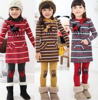 2013 new arrival Children's clothes Little Fawn Stripe Dress Girl's suit /2pcs Long sleeve dress+Leggings Girl's Set