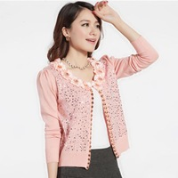 2013 HENG YUAN XIANG women's loose flower sweater women's short design small cardigan female