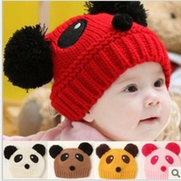 8 colors High Quality 5PC New Kids Baby Hat knited Panda Dual Ball Girls/Boys Beanie Cap Warm Winter Infant Toddler Hat RT003
