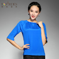 2013 autumn straight all-match o-neck heavy silk mulberry silk top half sleeve chiffon shirt