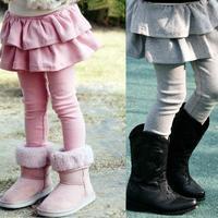 Thick thicken winter fleece velvet girls all match cake culottes legging children clothing kids long skirt trousers skinny pants