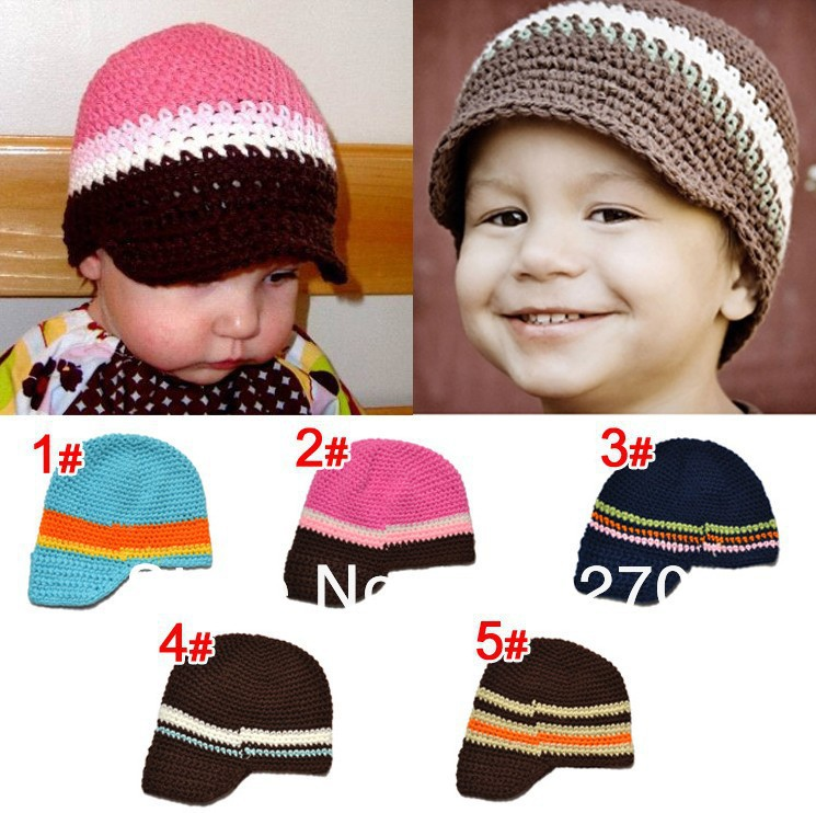 Free Shipping Crochet Baby Boys Striped Beanie Newsboy Cowboys Caps Infants Toddlers Knitted Hat Winter Children's Cap Cotton(China (Mainland))