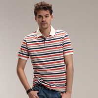 Pima cotton stripe polo shirt men short-sleeve polo shirts stripe turn-down collar t-shirt