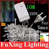 2pcs 10M Multicolour 100 LED String Light 220V/110V Decoration Light for Christmas Party Wedding led new year Free Shipping