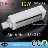 Free Shipping Lampada Led  G24,G23,E27,B22 PL LED Down Light Bulb 200pcs lot 10W 110V 120V 220V 230V 240V PLC LED Plug Lampada