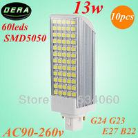 free shiping 10pcs/lot PL led G23 g24 13w led plc light 60leds SMD5050 e27 b22 led corn light bulb 1000lm led pl lamp with cover