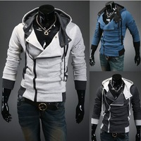 new 2013 men's sweatershirt Hooded cardigan long sleeve Side zipper slim suits for winter autumn wear free shipping