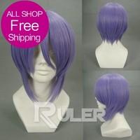 Hot Sale Short Suzumiya Haruhi no Yuuutsu Purple Cosplay wig COS-071A