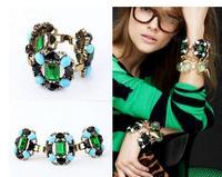 high quality 2013 new design vintage big green crystal gem bracelet length 17cm
