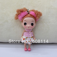 Free Shipping,Wholesale(20pcs/lot) 12CM Very Cute Girl With Colorful Dotty Dress Vinyl Ddung Doll 1617