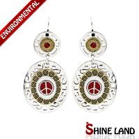 Hot Selling Women Ethnic Silver Plated Multicolor Enamel Crystal Rhinestone Big Pendants Statement Clip Earrings