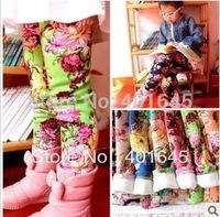 2014 new item girl winter thickening warm legging flower legging 13 colors