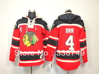 Cheap Men's Ice Hockey Jerseys Old Time Chicago Blackhawks #4 Bobby Orr Hooded Sweatshirt Jersey,Embroidery Logo