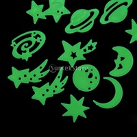 Free Shipping Glow In the Dark Universe Moon Star Planet Stickers Wall Bedroom Kids Decoration