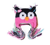 Free shipping owl short needle cap by hand knitting wool cap baby autumn winter cap
