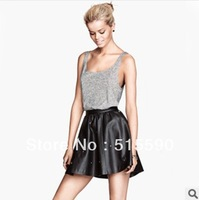 The European and American wind sexy fashion elastic waist leather skirts