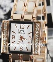 2013 Promotion Fashion Women Luxury  Brand Ceramic Rhinestone Dress Watches Clock Relogio Free Shipping