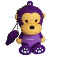 Hot Sale Cute Purple monkey USB 2.0 Memory Stick Flash pen Drive 2GB 4GB  8GB 16GB 32G