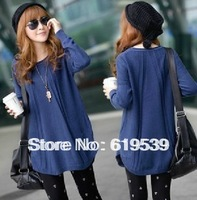2013 autumn women's long-sleeve loose sweater medium-long plus size sweater basic outerwear[1314]