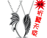 For nec  klace female short design angel necklace pendant male pure silver 925 fashion lovers necklace a pair of