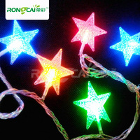 Led lights flasher five-pointed star lighting string Christmas decoration lamp copper wire string light