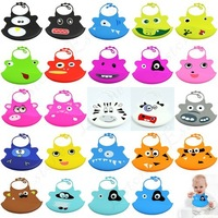 Free Shipping 1pc Infant Baby Kid Washable Silicone Feeding Bib Cute Cartoon Patterns Bib New