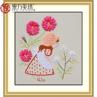Ribbon embroidery paintings young girl  home cross stitch