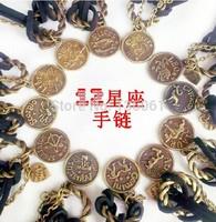 Fashion Jewelry Vintage Bronze 12 Zodiac Constellation ladies Multilayer Originality Charm Good Luck Braclets&Bangles 24pcs Z940