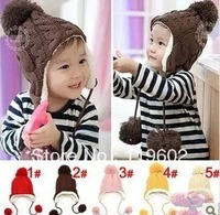 Free shipping,Stripe plus velvet children ear protectors cap, wool cap hanging ball,Children's knitted hats(5 colors)  hat004