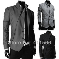Free Shipping 2013 New Mens Special Design Suits Single Breasted Formal Suits Slim Fit Two Button Casual Blazers 3 Color