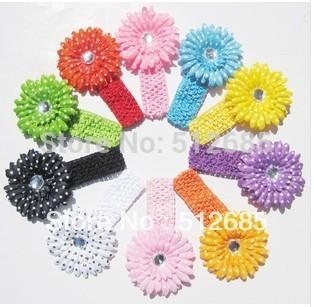 {Min.Order $15}20pcs/Lot New Pop Kids/Girl/Princess/Baby Knitting Big Flower Elastic Head Band/Hair Accessories(China (Mainland))