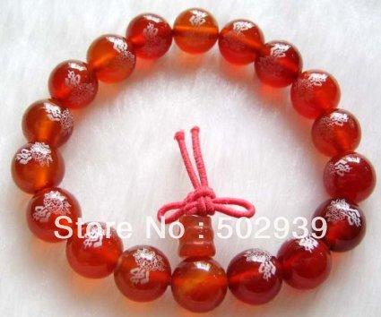 atacado 10 milímetros frete grátis Red Ágata Beads Tibet oração budista pulseira Mala FO Lotus 25pcs / lot(China (Mainland))
