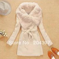 Wholesale Women's Wool Long Coat , Fashion Warm Winter Leisure Wear,Cloak Blends Fur Jacket , S/M/L Free Shipping