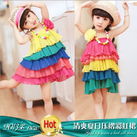 1 PCS Hot Summer Free Shipping  girl chiffon dress Children's rainbow  Baby  with shoulder-straps 2 to 6 years old