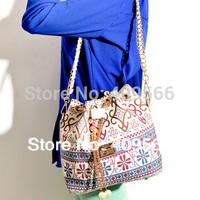 2014 Fashion Pearl Bucket Bag Women Canvas Handbag Vintage Prints Chain Shoulder Bags Messenger Bags FREE SHIPPING