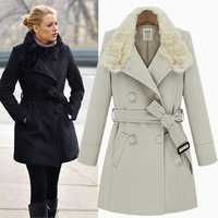 Europe 2013 new winter fashion personality rabbit fur collar double-breasted with blet coat Long coat female trench # 4486