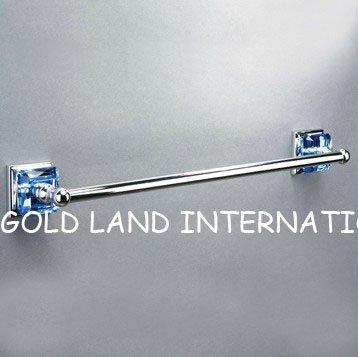 L762mmxH80mm Free shipping pure brass top quality K9 crystal glass single towel bar/single towel rail(China (Mainland))