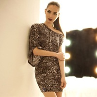 2014 Summer Women's oblique Single Leopard Printed sexy Slim one-piece Party dresses,Free Shipping