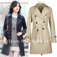 Lady Waist Belt Double Breasted Outerwear Overcoats Jacket Wrap Top Coat Clothes