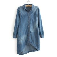 New autumn 2013 Top Quality women denim dresses women jeans lapel Long Cowboy Shirt Asymmetrical denim skirt women dress S-XL