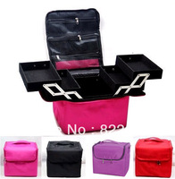 Large-size high-capacity professional cosmetic bag / box cases beauty case with shoulder strap  hand bag free shipping