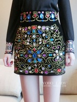 Autumn new arrival vintage embroidery colorful diamond-encrusted high waist women skirts M,L Free shipping