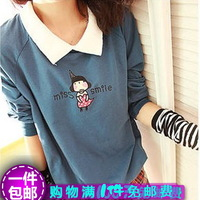 Spring and autumn clothing juniors casual women's fashion sweatshirt short sweet design sweatshirt female