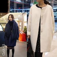 new fashion winter women long loose cloak round collar coat loose woolen Blend casacos femininos overcoat outerwear PH0221