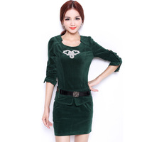 FREE SHIPPING Fashion new arrival 2013 slim women's elegant autumn and winter long-sleeve dress autumn velvet slim hip fashion