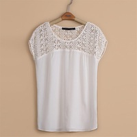 New 2013 Fashion Women Cut Out Lace Short Sleeve White Blouses Vintage Brief Blouse Autumn-Summer Shirt Women Tops Free Shipping