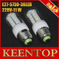 220V 4Pcs/Lot Indoor Use,Corn Bulbs  E27 5730 36LEDs Lamps 5730 SMD 11W,Warm White/White Energy Efficient