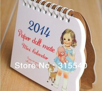 Free Shipping(18pcs/lot), New lovely paper doll mate mini 2014 calendar ,Cute little child pattern table/desk calendar, UK352