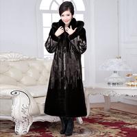 faux fur coats women long artificial mink fur coats with big hood